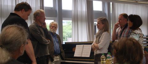 Musiker der hr-Bigband unterrichtet Lehrer